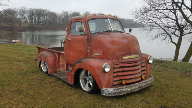 3VPJ1120 - 1952 Chevy COE CAB OVER Pickup truck Air ride bagged patina ratrod shop truck