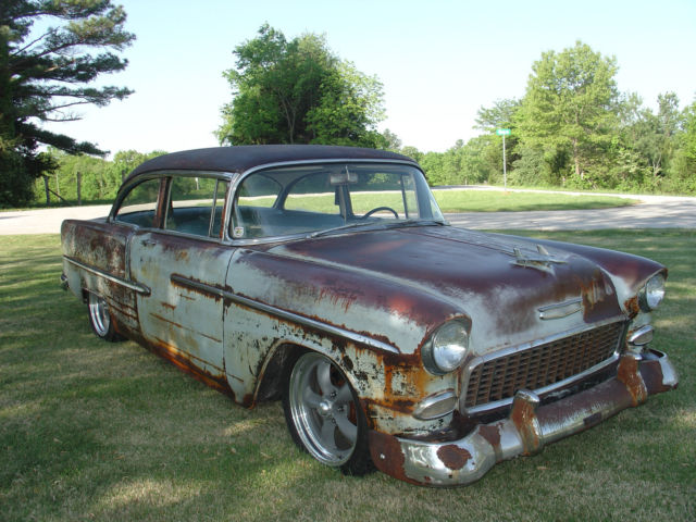C55a031589 1955 Chevy Bel Air Rat Rod Barn Find Patina
