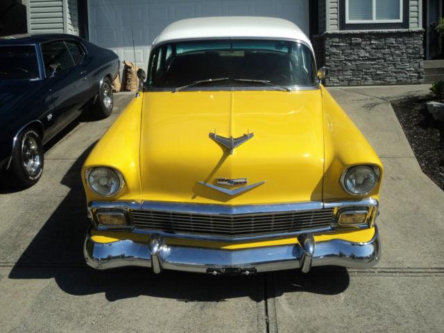 Belair Auto Auction >> 1956 Chevy Belair 350/350 Auto Yellow/white Starting bid only ,950.00!!