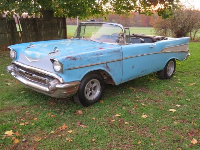 Vc57f156290 1957 Chevy Convertible Belair V8 Project Barn Find Old