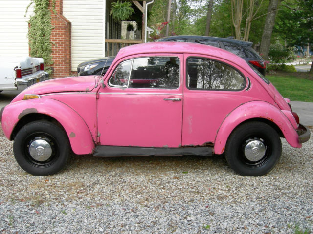 1112039754 1971 pretty in pink vw beetle no engine no title. Black Bedroom Furniture Sets. Home Design Ideas