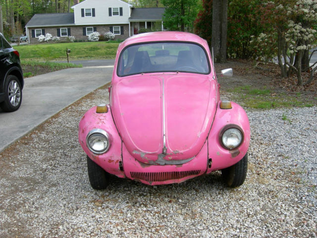 1112039754 1971 pretty in pink vw beetle no engine no title. Black Bedroom Furniture Sets. Home Design Ideas