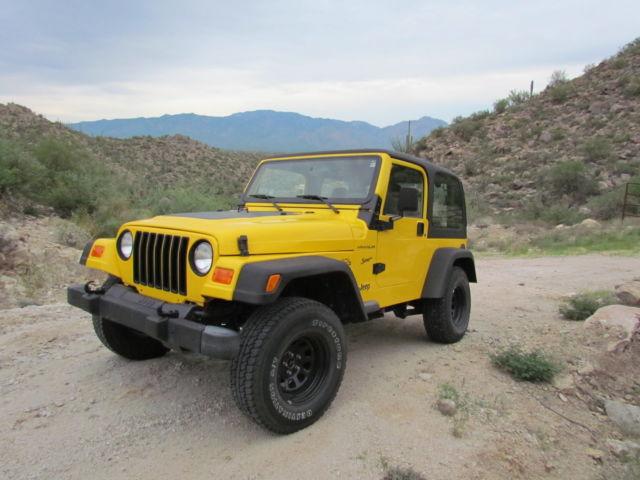 1j4fy19s6xp432049 1999 jeep wrangler sport 2 door yellow. Black Bedroom Furniture Sets. Home Design Ideas