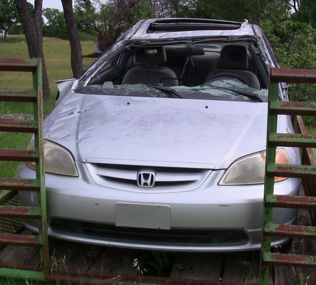 1HGEM21991L006478   2001 Honda Civic EX Coupe 2 Door 1.7L Wrecked Parts Car  For Engine/Transmission