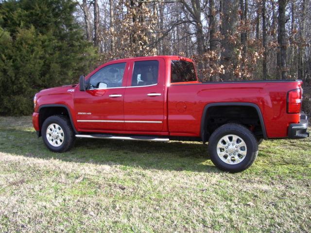 1gt22ze86fz134487 2015 gmc sierra 2500 hd red 4x4 duramax diesel double cab slt 8k miles. Black Bedroom Furniture Sets. Home Design Ideas