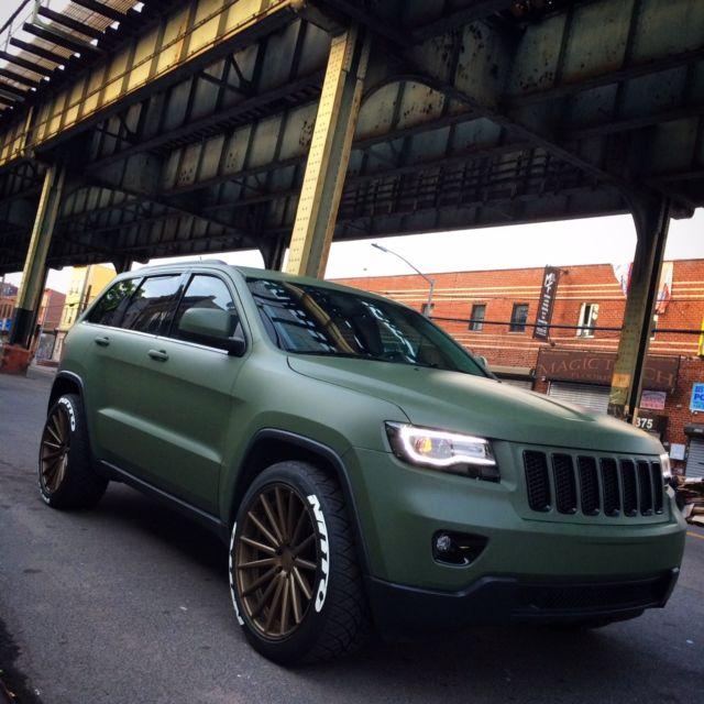 crjfagdc matte army green  jeep grand cherokee laredo  wd vossen led srt parts wk